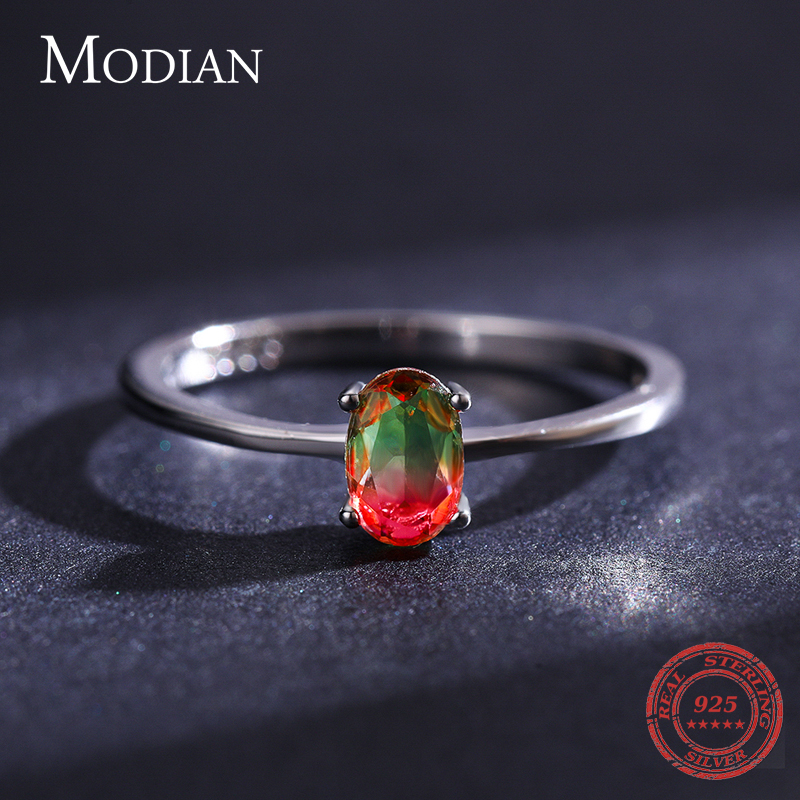 Modian 925 en argent Sterling coloré pastèque Tourmaline anneaux pour les femmes mode bande de doigt Fine bijoux Style coréen Anel 4