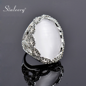 SINLEERY Luxury Big White Opal Oval Finger Rings With Shining Cubic Zirconia Silver Color Women Wedding Party Jewelry Jz175 SSI(China)