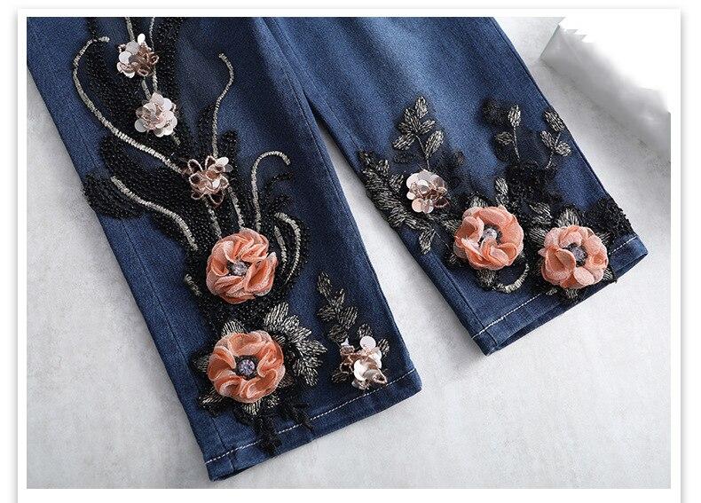 KSTUN FERZIGE Women Jeans Shorts High Waist Stretch Dark Blue Beaded Flowers Mom Jeans Push Up Sexy Short Pants Summer Mujer Jeans 36 21