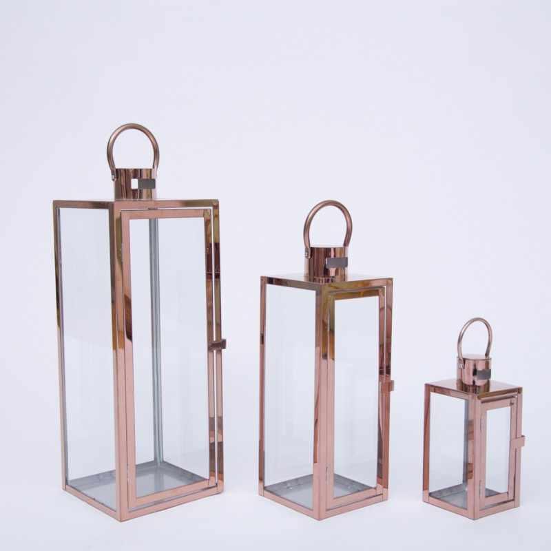 เหล็กทองเทียนผู้ถือสแตนเลสเชิงเทียนแก้วลมโคมไฟสีดำโคมไฟสวนกลางแจ้งBougeoir Decor FC110