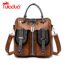 3-in-1 Women Backpacks Vintage Female Shoulder Bags Soft Leather Backpack Ladies Travel Back Pack Luxury for Girls Mochila
