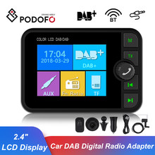 "Podofo 2.4"" LCD Display Car DAB Digital Radio Adapter DAB+ Plug and Play Adaptor Support FM Transmitter BT Music AUX Interface(China)"