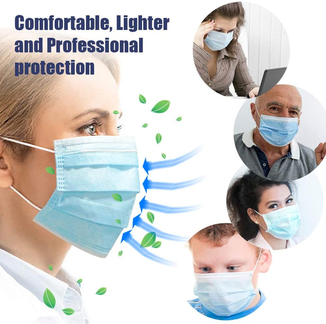 Anti-Pollution 3 ply Layer Face Mask mouth flu dust protection Disposable Elastic Ear Loop Filter Safety 10-50 pcs