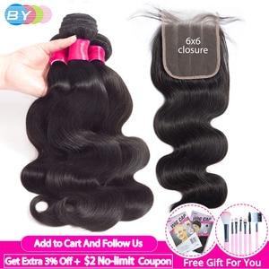 Image 1 - Body Wave Bundles With Closure 6x6 Lace Closure Pre Plucked Brazilian Bundles With Closure Human Hair Bundles With Closure Remy