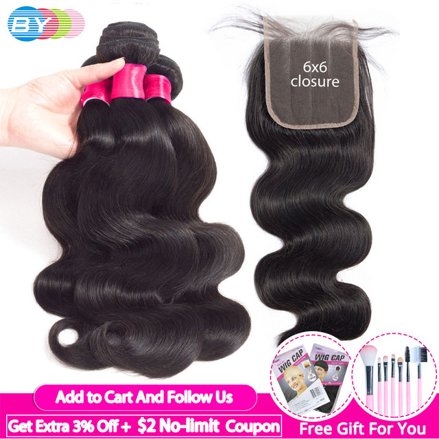 Body Wave Bundles With Closure 6x6 Lace Closure Pre Plucked Brazilian Bundles With Closure Human Hair Bundles With Closure Remy