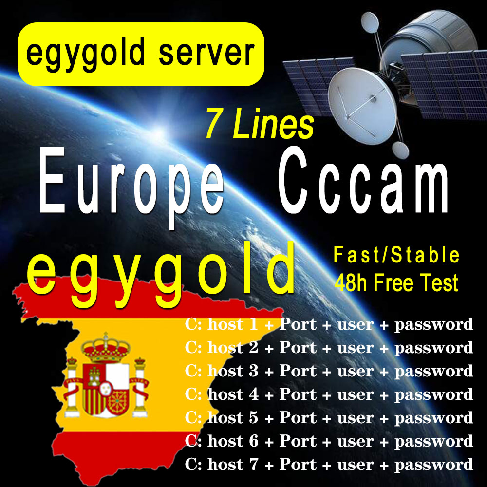 EgygoldCCAM TV Receiver AV Cable line in europe cline egygold 7 lines Freesat ccam cline for DVB-S2 Gtmedia v8 nona v9 v8x v7 s