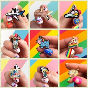 Hiking Items Enamel Pins Sneakers Plane Car Map Brooches Denim Clothes Cartoon Cake Ice Cream Jewelry Gift For Friends Kids(China)
