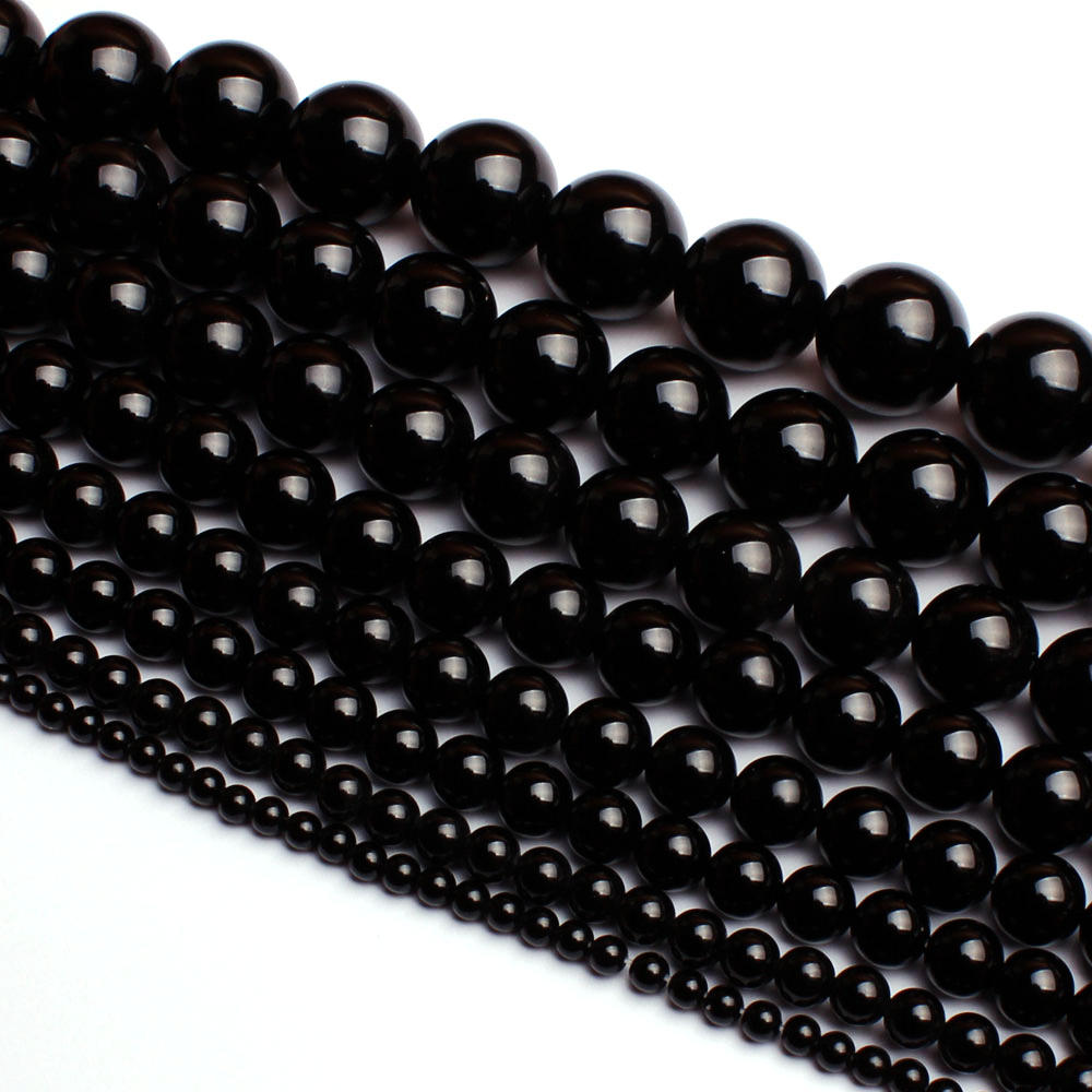 High Quality Round Natural Black Agates Onyx Bracelet Necklace Jewelry Gems Loose Beads 15Inch 2,3,4,5,6,8,10,12,14,16,18,20mm