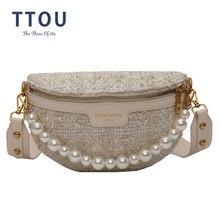 Sac en laine et perles pour femmes, sac de poitrine avec chaîne, sac banane, ceinture de taille, sac à bandoulière en cuir PU