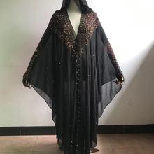 Dashiki New African Fashion Women's Loose Long Dress & Scarf Abaya Stylish Cotton Fabrics Nail Bead Bat Sleeve Free Size
