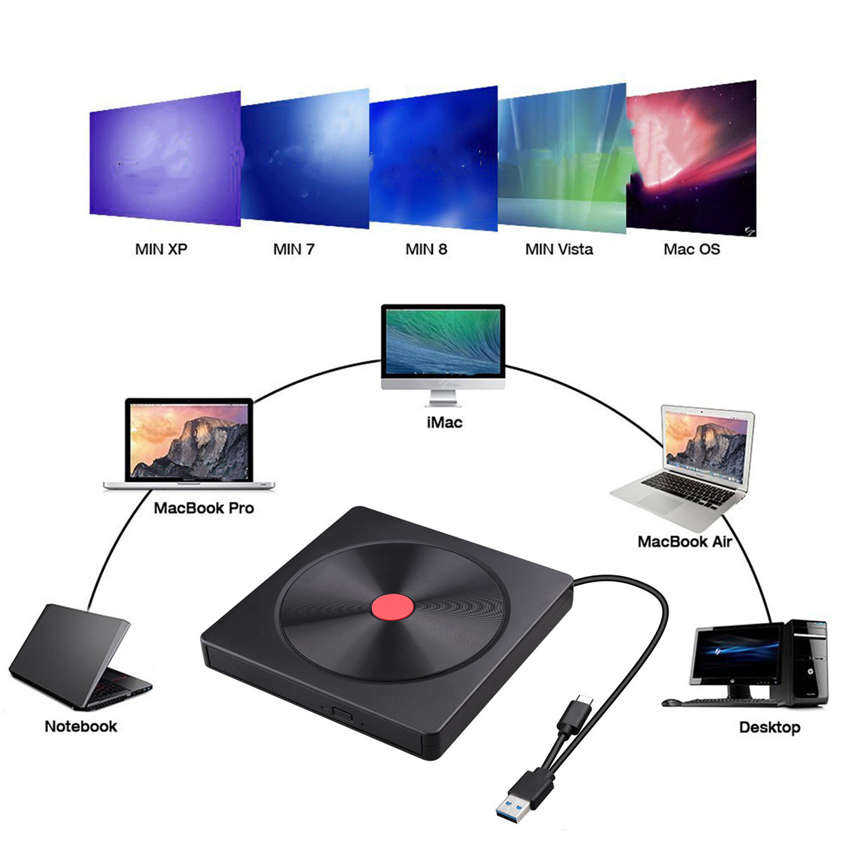 Optical Drive Notebook Desktop Universal External Mobile Portable Universal High-Speed Disc Reader Ultra-Thin External DVD//CD Burner Desktop Laptop Mobile USB External CD//DVD Drive