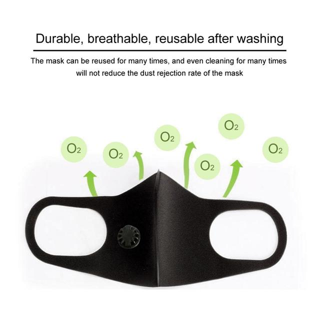 PM 2.5 Dust Mask Double Air Valve Anti Pollution Mask Dust Mask Anti-fog Activated Carbon Filter Flu-proof Mouth Mask Outdoor 2