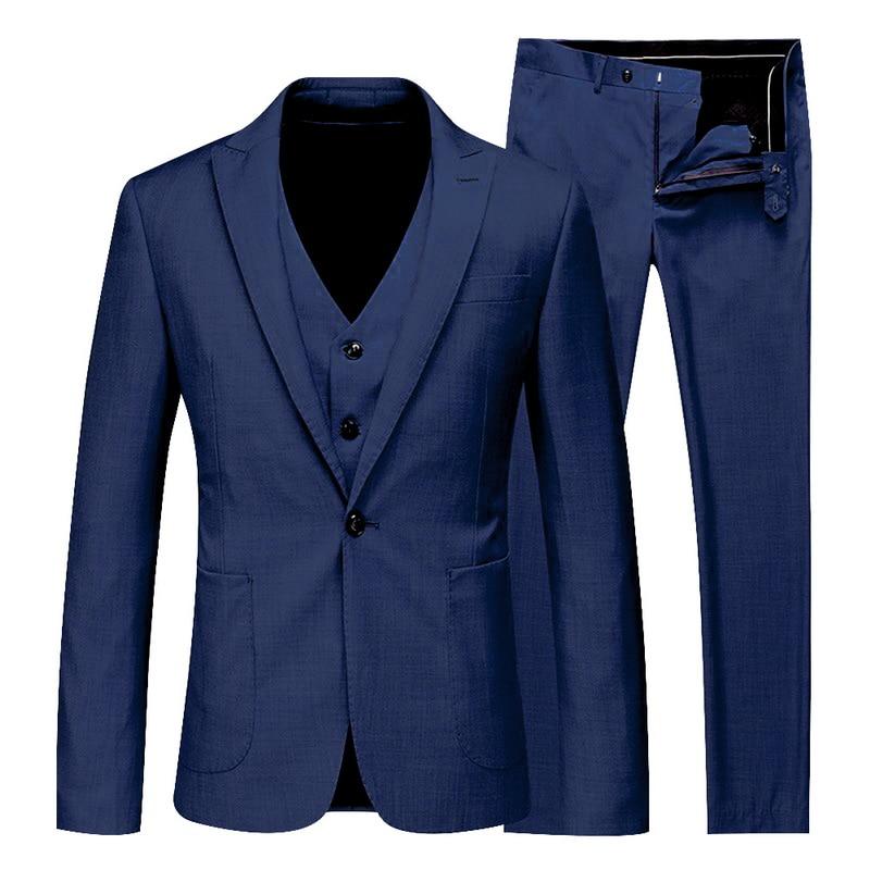 2019 Men 3 Pieces Solid Classic Blazers Suit Sets Men Business Blazer +Vest +Pants Suits Sets Spring Autumn Slim Wedding Set