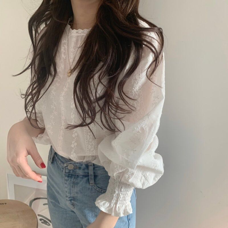 Hd8401d5fec0d47c798732e4599421f7cQ - Spring / Autumn O-Neck Lantern Sleeves Elastic Cuffs Blouse