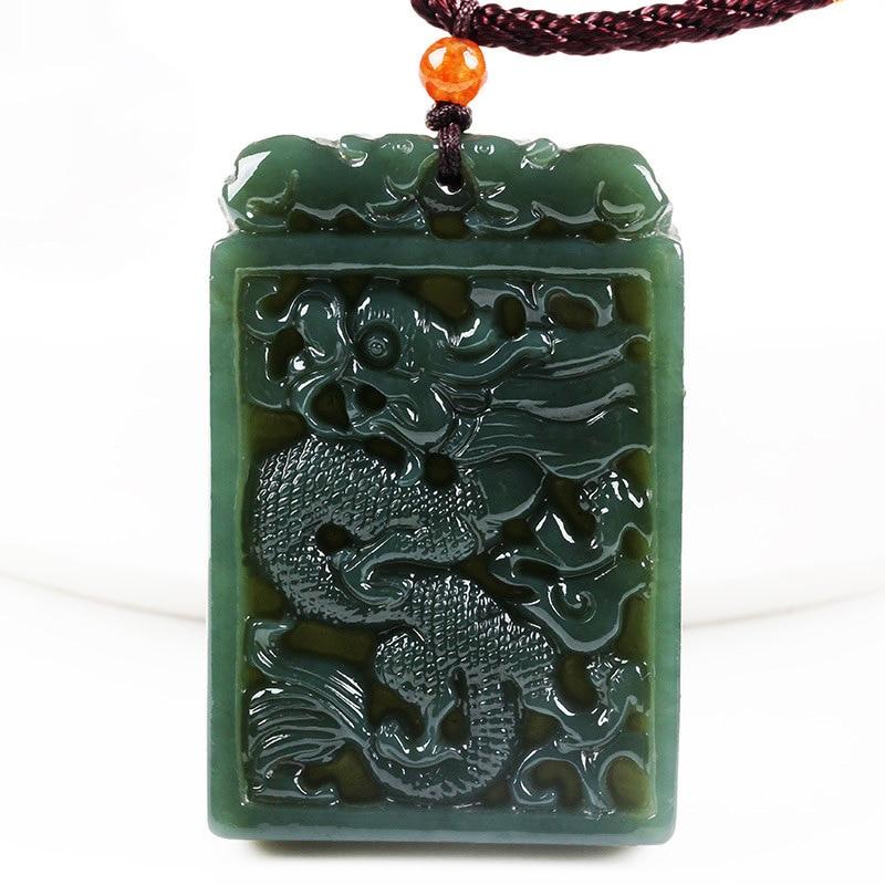 box 100/% Natural dark green jade lucky money men and women pendant rope