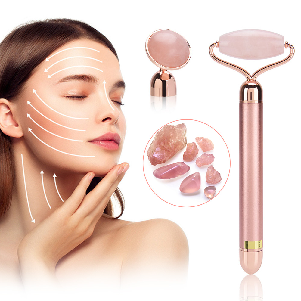 2 Heads Electric Jade Roller Vibrating Facial Lifting Natural Rose Quartz Massage Crystal Stone Slimming Tool Machine With Box