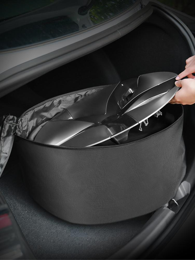 Wheel Cap Storage Bag For Tesla Model 3 18 inch or <font><b>19</b></font> inch Spare <font><b>Tire</b></font> Cover Case Oxford Cloth Portable Carrying Wheel Hub Cover image