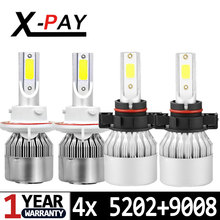 4x Combo H13 9008 5202 2504 PSX24W H16(EU) LED Headlight Bulbs High Low Beam Fog Light All In One Conversion Kit