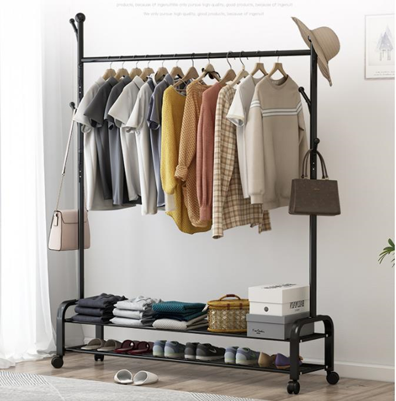 Coat Rack Assembly Bedroom Hanging Clothes Shoes Bags Organize Storage Shelf Wardrobe For Home Furniture Drying Racks