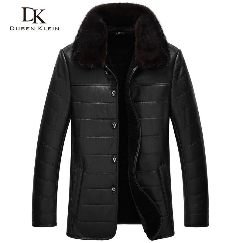 Wool Leather Jacket New  Warm Winter Coats Genuine Sheepskin Mink Fur Collar Business Thick Luxury Leather Clothing 71J8889B