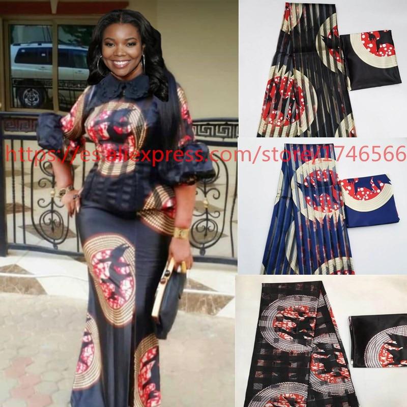 Organz silk wax fabric african fabric for dress african silk ankara Fabric high quality 2019 latest satin wax for Garme ! L70198
