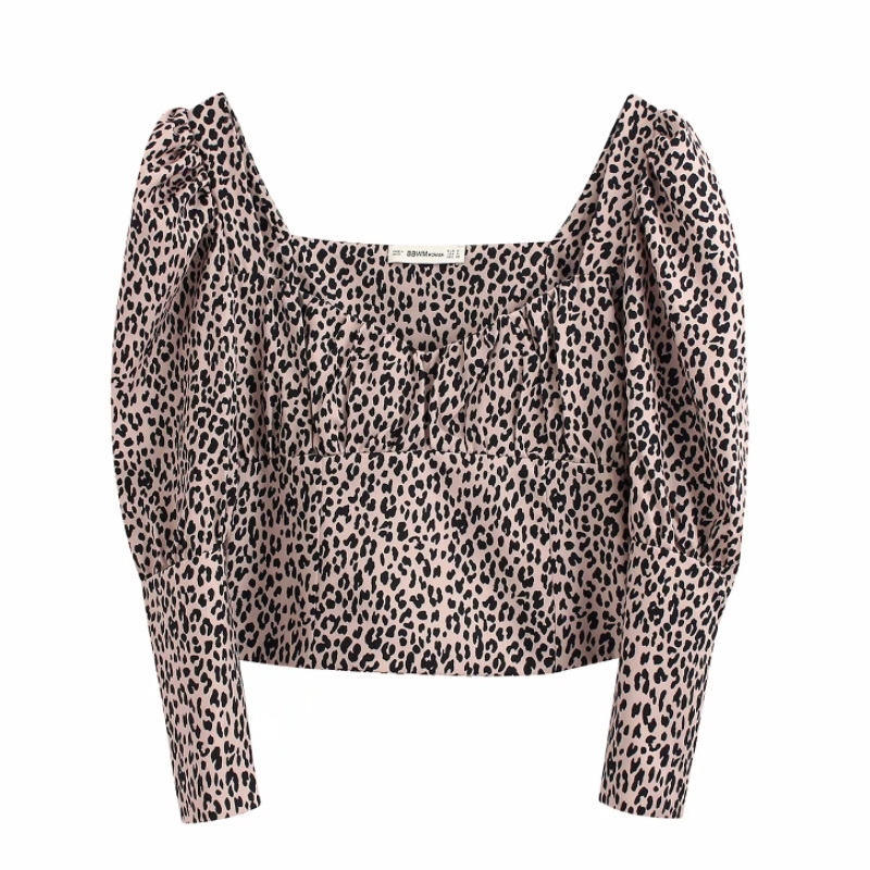 2020 Women Vintage Puff Sleeve Leopard Print Casual Slim Blouse Women Pleats Square Collar Animal Pattern Chic Shirt Tops LS6182