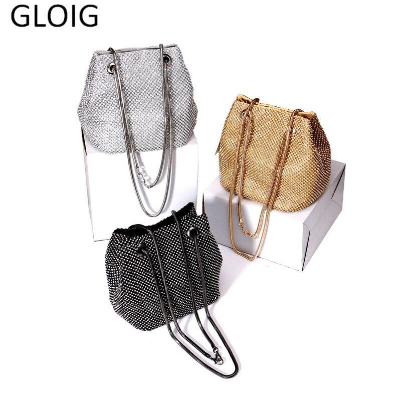 GLOIG Women Diamonds Day Clutch Soft Rhinestones Cover Evening Bags Wedding Bridal Mini Purse For Party Dinner Case