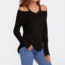 купить Winter Fashion Plus Size Women Casual Long Sleeve Hollow Out T-shirt Women Sexy Solid Tops Slash Neck Shirt дешево