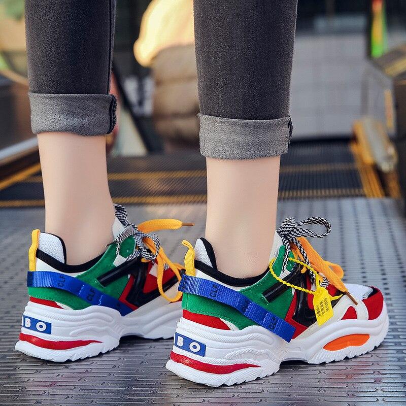Height Increasing 5 CM Women Running Shoes Red Black Sneakers Female Outdoor Sport Shoes Athletic High Heel Cushioning Footwear