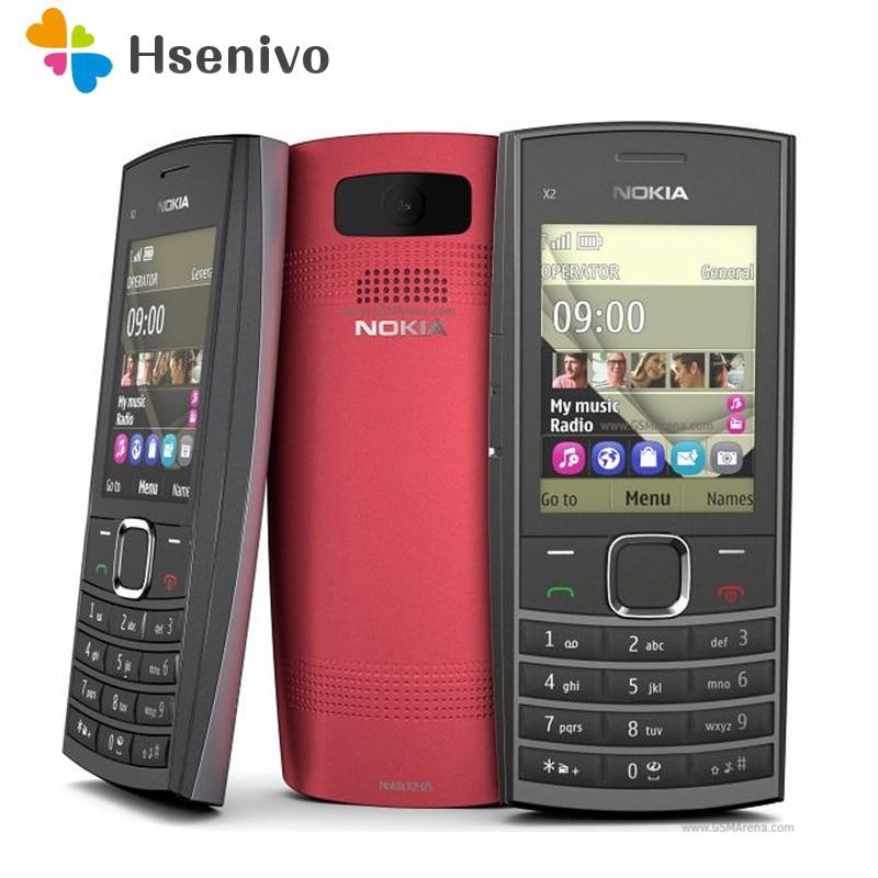 """100% Original Nokia x2-05 Telefone Desbloqueado 2.2 """"64 MB Bluetooth GSM/WCDMA 2G Telefone Frete grátis"""