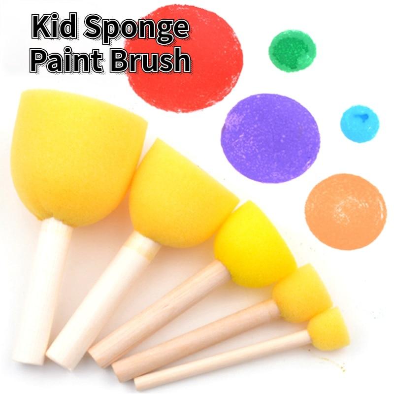 10 Pcs/set Kid Sponge Paint Brush Painting Graffiti Early Educational Toys Children  Kindergarten DIY Art Supplies Gifts