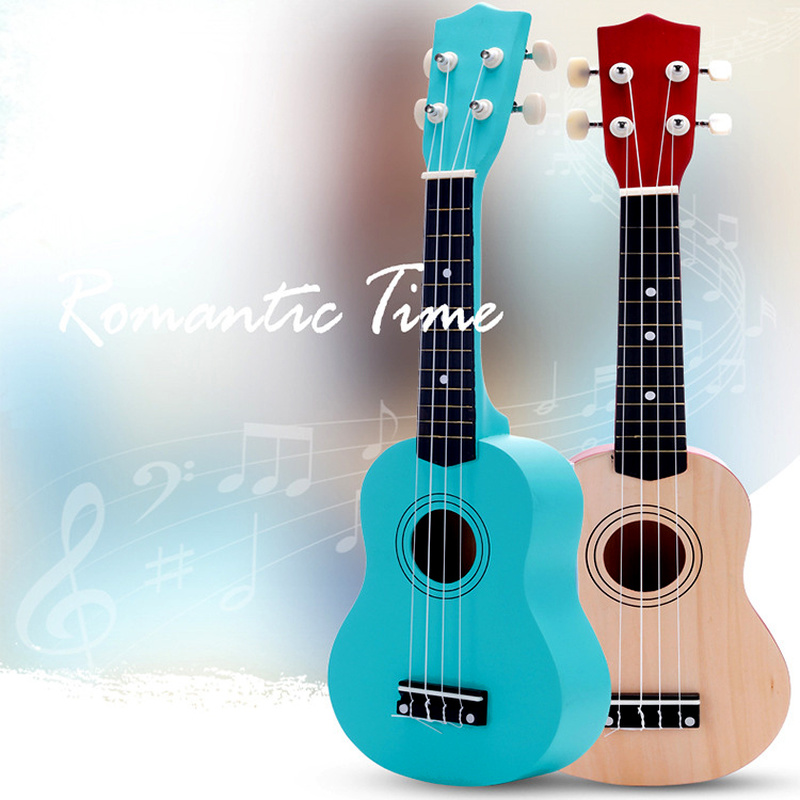 21 Inch Wooden Playable Ukulele Color Ukulele Musical Instrument Early Childhood Learning Education Small Guitar Toy|Toy Musical Instrument|   - title=