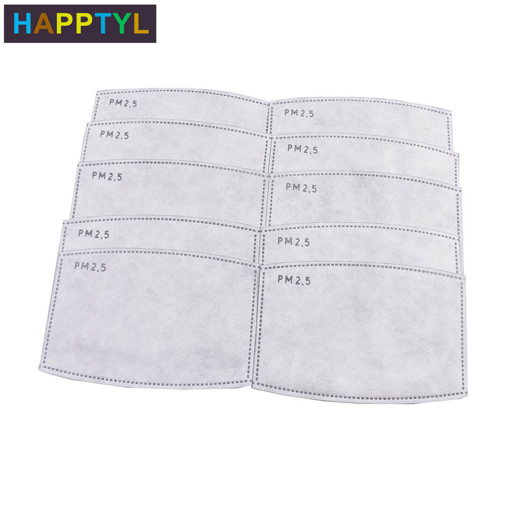HAPPTYL 10Pcs/Lot 5 Layers PM2.5 N95 Activated Carbon Filter Insert Protective Filter Media Insert For Mouth Mask Anti Dust Mask