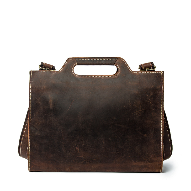 Small Office Bags For Men Natural Crazy Horse Leather Briefcase A4 Document Work Bag Casual Genuine Leather Shoulder Bags Maleta
