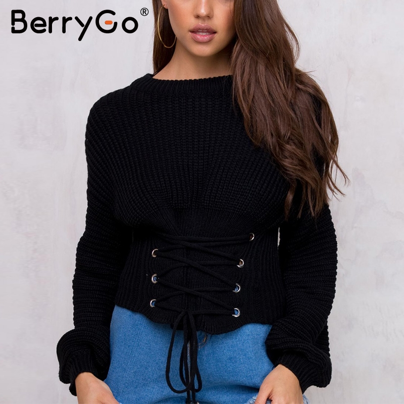 BerryGo Lace Up Waistband Knitted Pullover Sweater Women Black  Warm Long Sleeve Jumper Autumn Winter 2017 Knitting Pull Femme