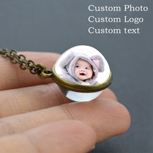 Custom Photo double sided Glass Ball Necklace DIY Pendant Jewelry Family Photo Logo text Personalized Gifts цена