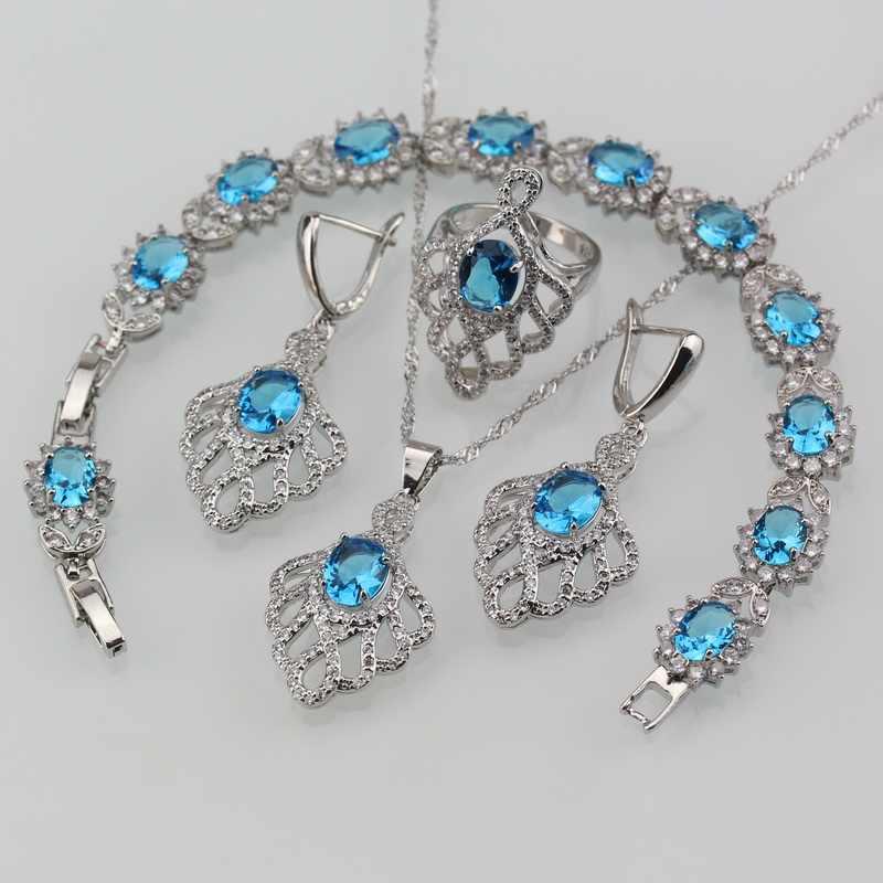 Céu azul semi-precioso pedra casamento grandes conjuntos de jóias 925 prata esterlina balançar brincos colar pulseira e anel feminino conjuntos