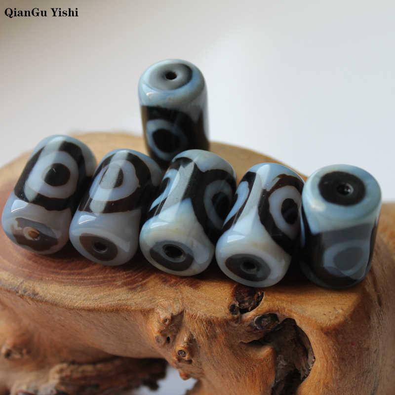 8 יח'\חבילה טבעי טיבטי שני עיני Dzi שחור אגת חרוז Agates אבן חרוזים 14x22mm עבור תכשיטי ביצוע DIY צמיד חומר