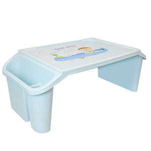 Small desk on plastic bed Children's writing study desk Children's multi-functional toy dining table