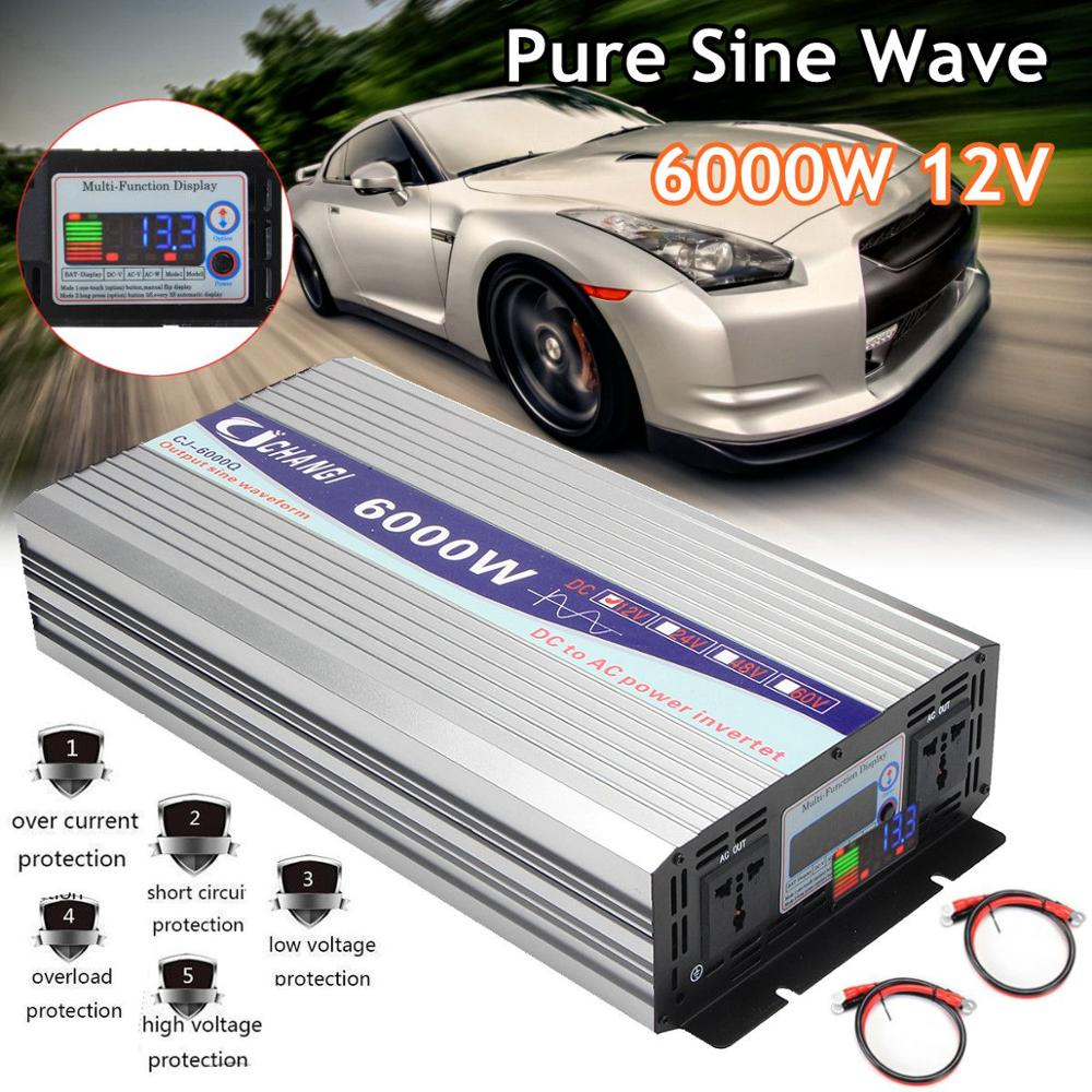 Pure Sine Wave Power Inverter 12V To AC 220V 3000W 4000W 5000W 6000W Intelligent Screen Voltage transformer Inverter