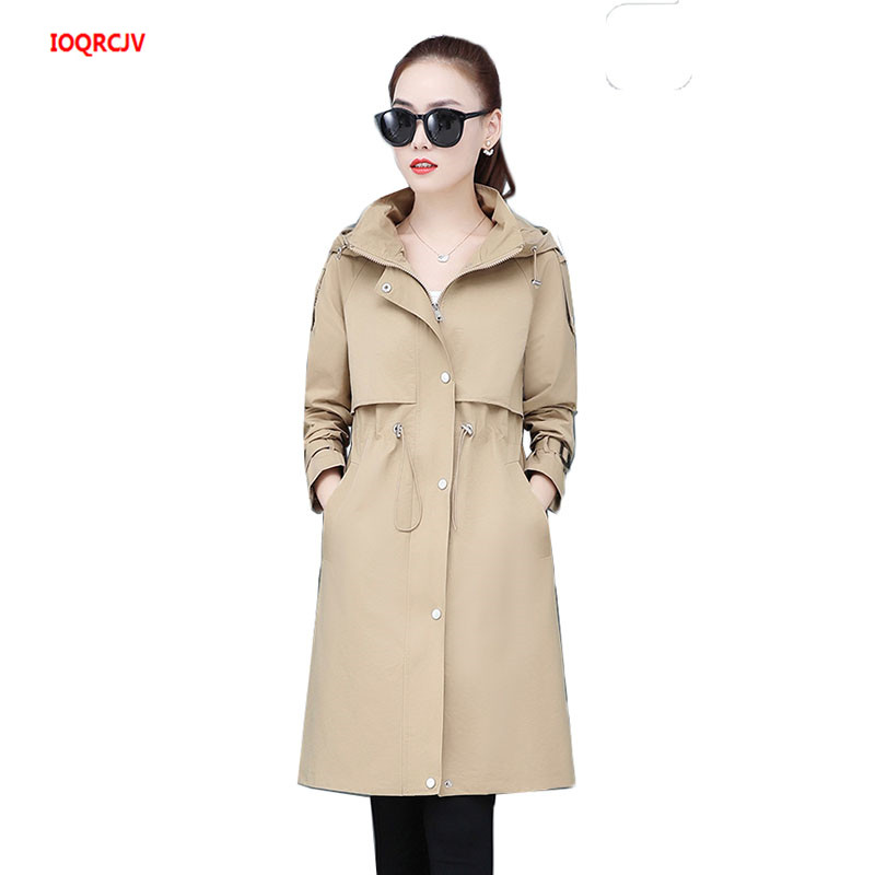 New Women's Hooded Trench Coat 2020 Spring Autumn Plus Size Drawstring Ladies Long Windbreaker Fashion Slim Female Overwear W41