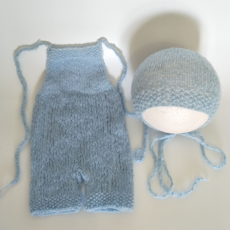 Newborn Knitted Outfit Hat Knit Romper Bonnet Props Set