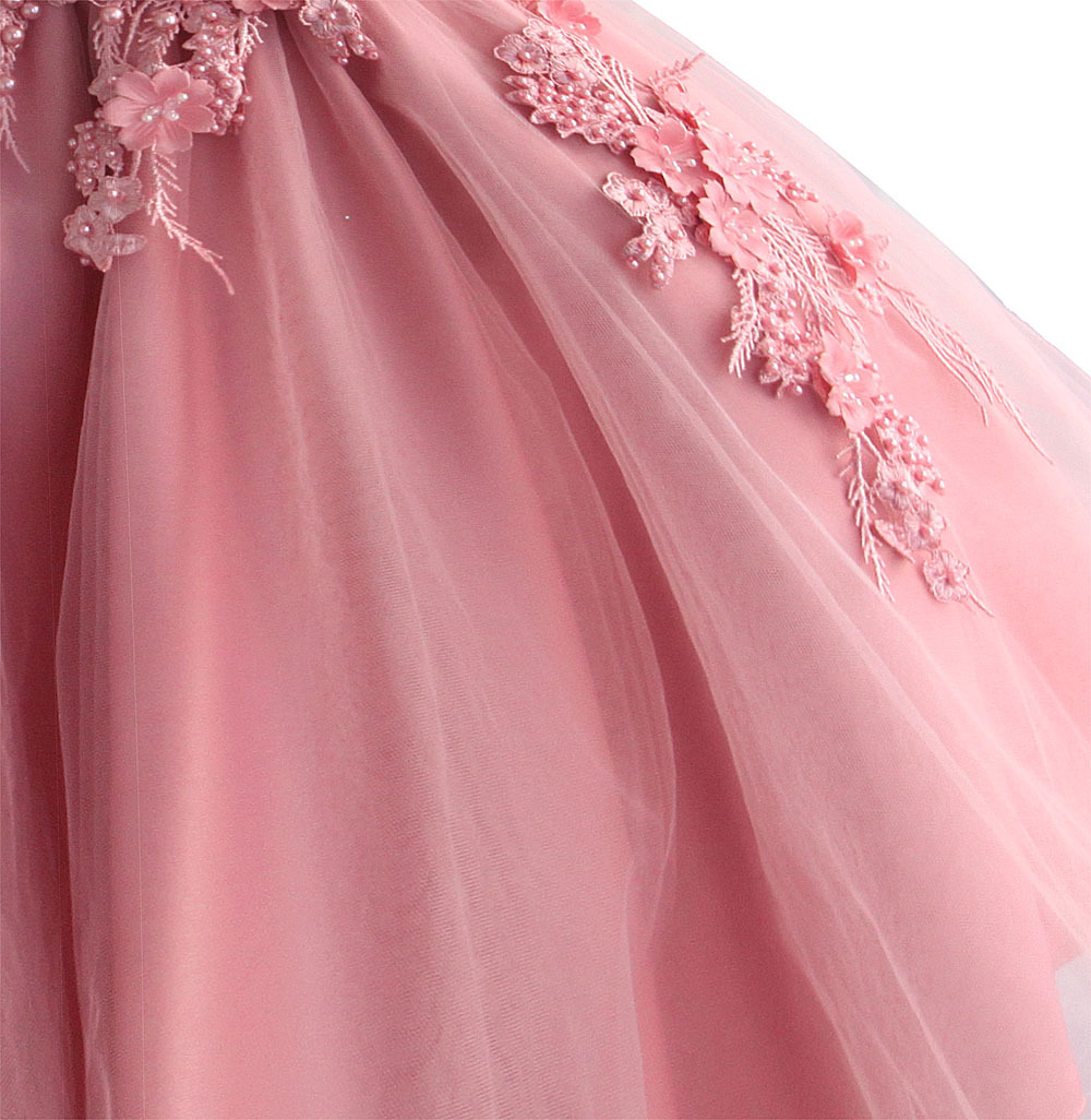 Zoeflower Flower Beads Pure Cotton GIRL'S Gown Participating Princess Dress Photography Performance Dress Powder