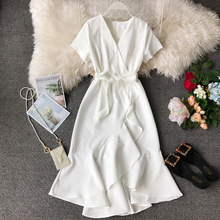 White Ruffle Dress V Neck Midi Tunic Office Korean Sexy Elegant Plus Size Pink Green Red Beach Summer Dress Women Vestidos