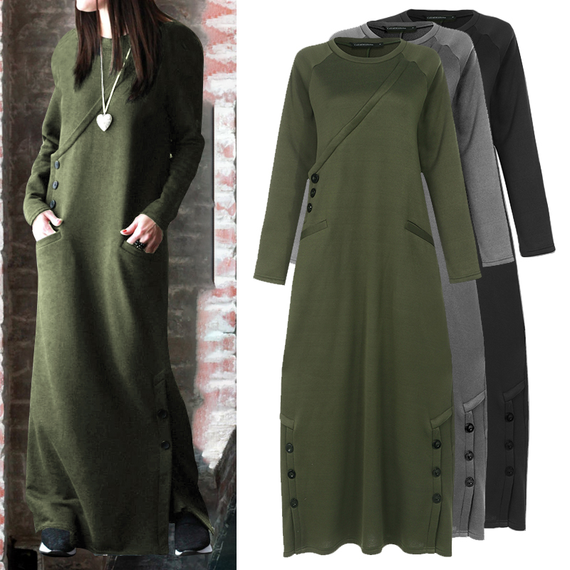 Celmia Women Sweatshirt Dress 2020 Autumn Winter Fleece Maxi Long Dress Casual Pullovers Long Sleeve Button Basic Vestidos 5XL 7(China)