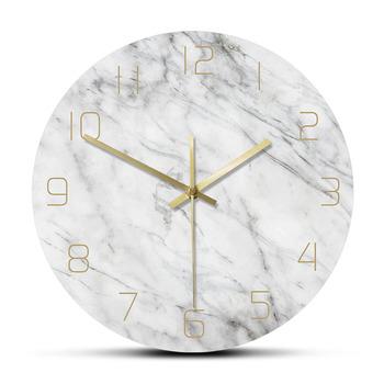 Kwarcowy analogowy cichy marmurowy zegar ścienny 3D szykowny biały marmurowy nadruk nowoczesny okrągły zegar ścienny Nordic kreatywność Home Decor Fashion tanie i dobre opinie The Vinyl Clock Krótkie CZ-0177 circular Akrylowe 30cm Pojedyncze twarzy 300mm QUARTZ Zegary ścienne Printed Wall Clock