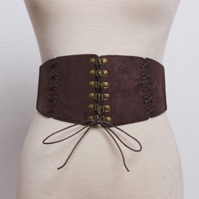 2020 New Design Fashion Hot Sale Corset Belts Women Solid Black Trendy Suede Female All-match Stylish Casual Waistband ZK287
