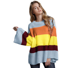Diwish  Sweater Shirt  Women Autumn Tops Plus Size Stripe Sweater Pull  Sleeve femme  O-Neck Rainbow Casual Polyester недорого