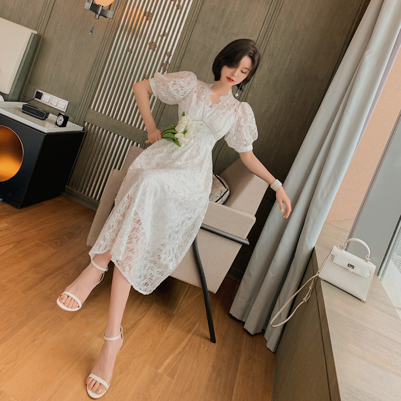 2020 summer new women's French sweet temperament waist slimming big swing lace dress Solid  Office Lady  Knee-Length