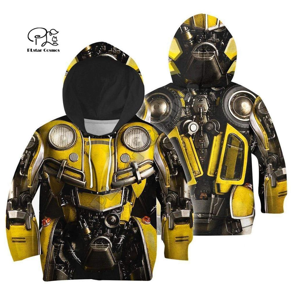 Family Matching Outfits Bumblebee Armor Suit Kids 3D Print Hoodies Mom And Daughter Chidren Boy Sweatshirts/Vest/jacket/t Shirts